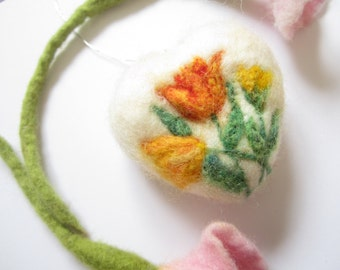 Needle Felted Heart Decoration