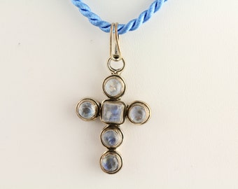 Moonstone Cross Pendant. Listing 258202474