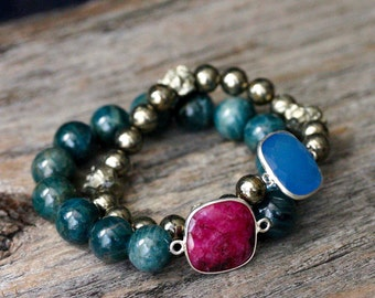 Ruby Apatite Statement Bracelet / Fine Jewelry Sterling Silver Bead Bracelet / Deep Dark Blue Green Ruby Red Pink July Birthstone Cats Eye