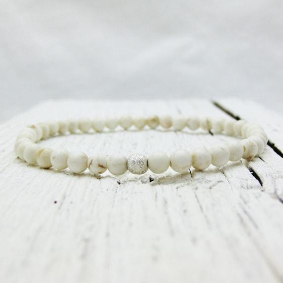 White Turquoise (Magnesite) Bead Bracelet w/ Sterling Stardust Ball / Tiny Stacking Elastic Bracelet / pale winter christmas snow inspired