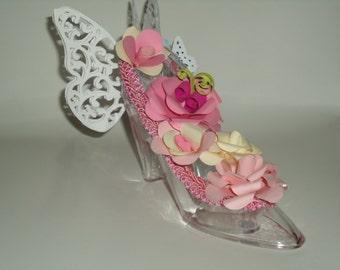 High Heel Shoe Keepsake Gift Butterfly Flower