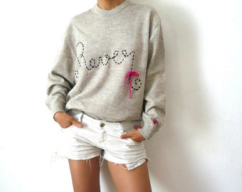 REVER Customized Grey wool Sweater