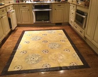 Hand painted Canvas Floorcloth Rug, Custom floorcloth, handpainted canvas rug, area rug