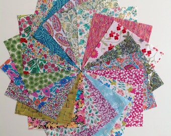 Liberty lawn PINK LIME and AQUA charm pack - 20 Liberty of London Tana Lawn  Fabric 5 inch squares