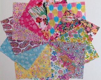Liberty lawn PINK LEMON and AQUA charm pack - 12 Liberty of London Tana Lawn  Fabric 5 inch squares