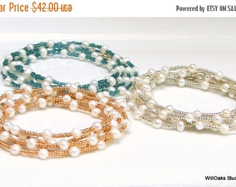 Heart Sale White Freshwater Pearl Layering Chain, Long Pearl Necklace Beaded in Gold or Silver, Fashion Pearls, Wrap Cuff