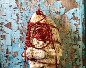 SILVER LIP CONCH Shell Pendant In Red Coated Copper Wire - The Sea Witch Collection - Lentigo lentiginosus - Mermaid Jewelry - Water Element