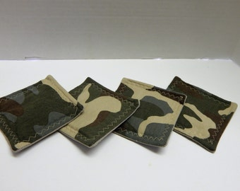 Set of 4 Fabric Drink Coasters Camoflauge