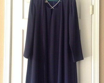 Vintage 1980s Petra navy blue dress with rhinestone necklace built in. Size 12