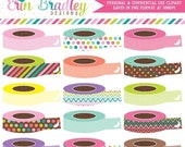 50% OFF SALE Clipart Washi Tape Rolls Commercial Use Graphics