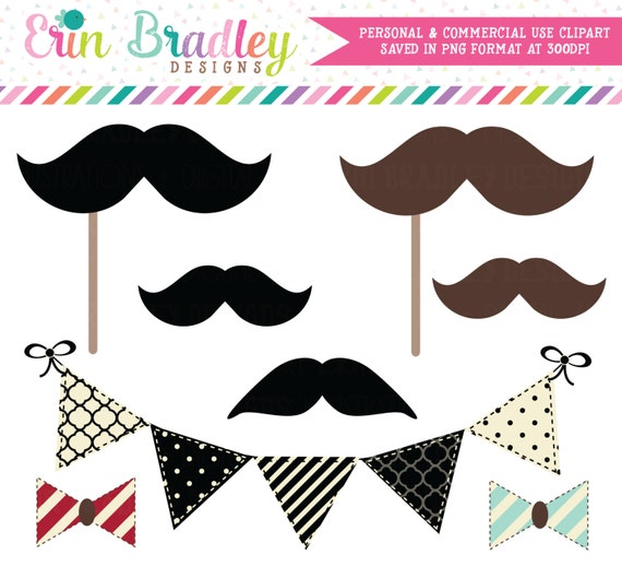 Mustache Bash Clipart Clip Art Personal and Commercial Use Bunting Banner Flags Bowties