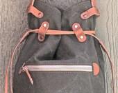 Wax canvas drawstring bag