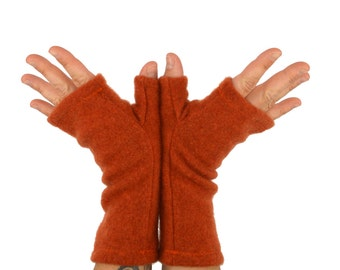 Fingerless Gloves in Spiced Orange Cashmere - Upcycled Wool