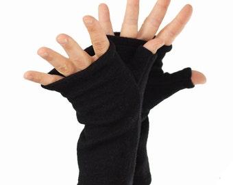 Fingerless Mitts in Basic Black Merino - Recycled Felted Wool