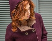 Hooded coat, Italian boiled wool knit, ladies coat, virgin merino wool, Merlot and Toast two tone
