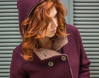 Burgundy and toast boiled wool, two tone knit coat, virgin merino wool outerwear