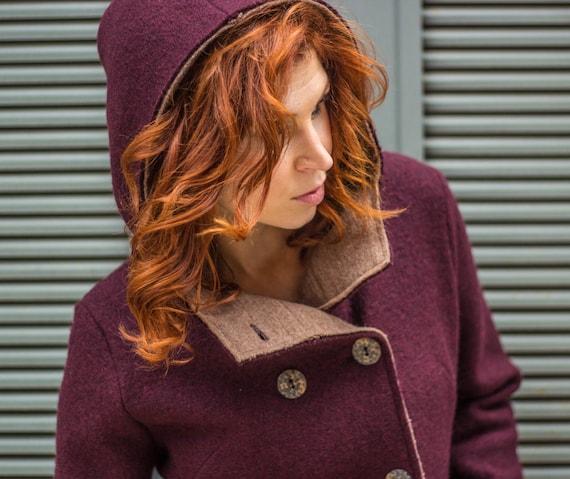 Hooded coat, Italian boiled wool knit jacket, ladies coat, virgin merino wool outerwear, two tone sweater coat