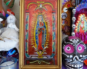 Hand painted GUADALUPE Shrine- Perfect for your religious altar