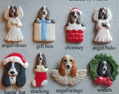 SPRINGER SPANIEL dog, porcelain ornaments, created by Nicole, free personalizing, many styles from pull down menu