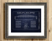 Hares Hill Road Bridge architectural blueprint, blueprint art, bridge blueprint, historical bridge art, architecture art, engineer gifts