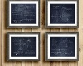 Gift Set of 4 WWII airplane blueprints, aircraft decor, p-38, p-40, p-51, b-29 airplane decor, aviation, military, aircraft, christmas gift