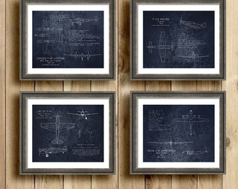 Gift Set of 4 WWII airplane blueprints, aircraft decor, p-38, p-40, p-51, b-29 airplane decor, aviation, military, aircraft, father's day