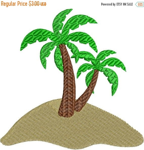 Sale off palm trees on sand beach with fill machine