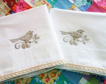 Vintage OOAK Machine Embroidered Pillowcases, Taupe Bird Pillowcases, NOS Pillowcases, Never Used White Pillowcases, Gray Bird Pillowcases