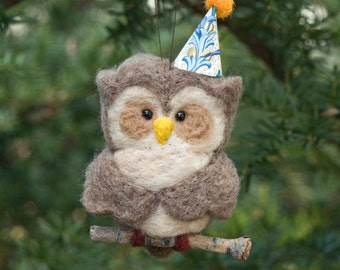 Needle Felted Owl Ornament - Party Hat