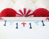 Custom Age Airplane Banner - 5 inch tall Number - Airplane Birthday Party 1st Birthday Airplane Party Decor First Birthday Airplane Garland