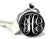 ON SALE - PERSONALIZED Monogram Charm Keychain (Black) - Birthday Gift, Graduation Gift, Keys, Gifts for Bridesmaids, Best Friend Gift, Char