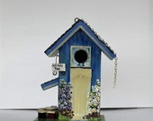 Reserved for Rachel , Blue Birdhouse with Lots of Extras