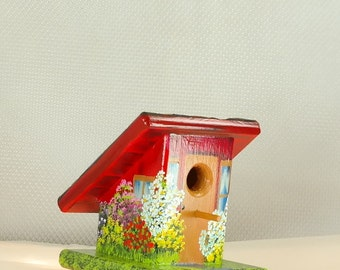 Decorative Red Birdhouse , Handmade and Hand Painted