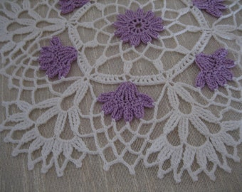 Hand crochet, New, Floral  Vanity Doily white/lavender, New, Turkishteam