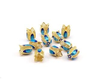 2 Enamel Tulip Beads (12x9mm) R075