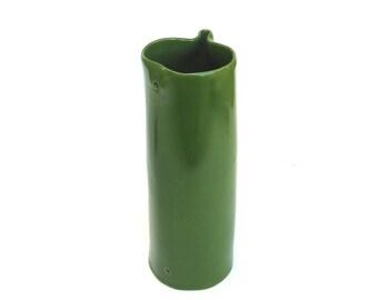 hand built porcelain vase  ...   tall ceramic vessel  ...   green mid century modern