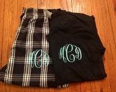 SALE ... Large monogrammed PJ set. Plaid Monogrammed PJs pants set, Large.