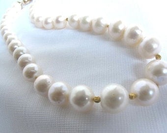 SALE Large Akoya Sea Pearl Statement Necklace,Traditional Japanese Pearl Strand,High Fashion Pearl Choker,Baroque Pearls, Bridal Necklace,02