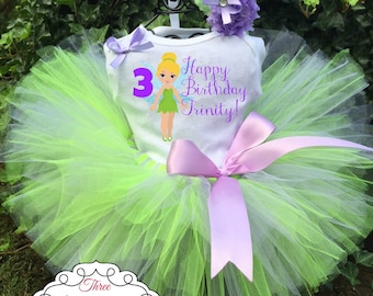 Tinkerbell Birthday Tutu Outfit - Tinkerbell Tutu Set - Tinkerbell Dress - Tinkerbell Birthday Tutu Outfit