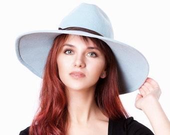 Pastel Blue Fedora Hat Wide Brim Hat Gift For Women Felt Fedora Hat Women's Hat Spring Accessories Winter Hat Serenity Blue Hat Gift For Her