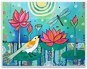Water Lilies with Yellow Bird - Art Print - Art by Regina Lord