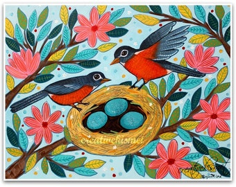 Robin's Nest - Two birds with eggs - Art Print - Art by Regina Lord