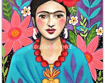 Frida Kahlo with Flowers - Art Print - Art by Regina Lord