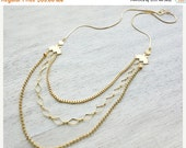 Sale 20% OFF Tulum Necklace, long layered gold silver necklace, Mexican tribal style jewelry
