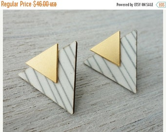 Sale 20% OFF Iceland Post Earrings, Scandinavian design, triangle element studs