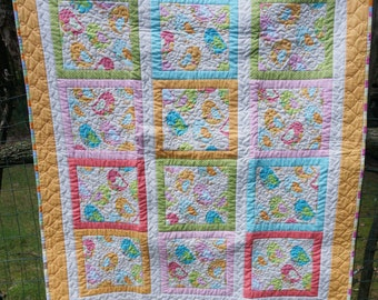 Pastel Birds Quilt for Baby, Toddler, Girl, Crib Quilt, Snuggle Quilt and Pillow