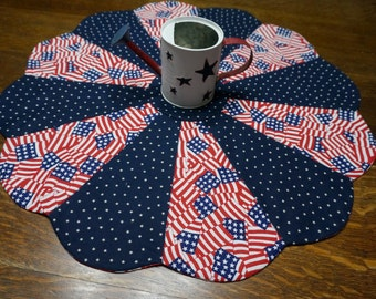 """21"""" 4th of July Table Topper Reverses to Halloween Skeletons or Fall Pumpkins"""