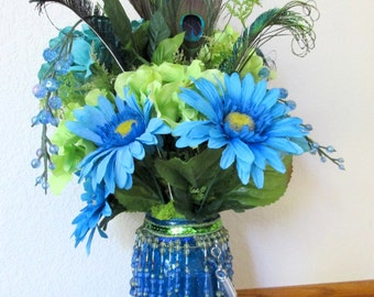Victorian PeacockFloral Centerpiece Arrangement in green, blue and turquoise silks with real peacock feathers and Victorian Beaded Fringe