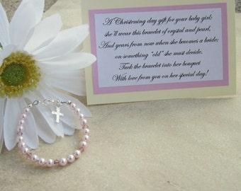 Christening Bracelet, Girls Sterling Pink Pearl and Crystal Baptismal