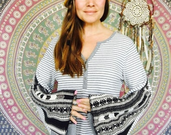 Gray White Striped Native Print Bell Sleeve Tee Eco Friendly Bell Sleeve Hippie Top Shirt Upcycled Eco Friendly Tee Tshirt  Size XL
